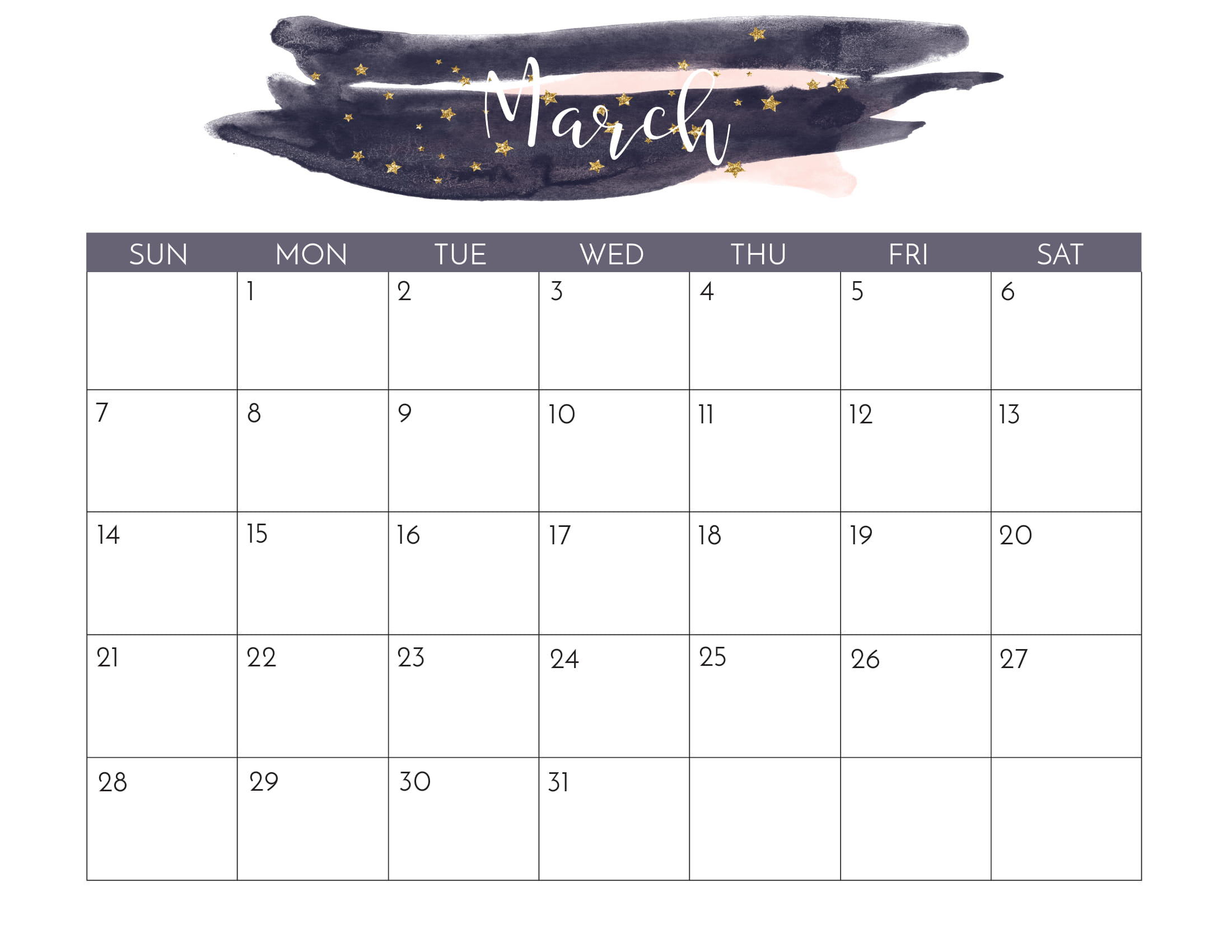 Cute March 2021 Calendar Printable