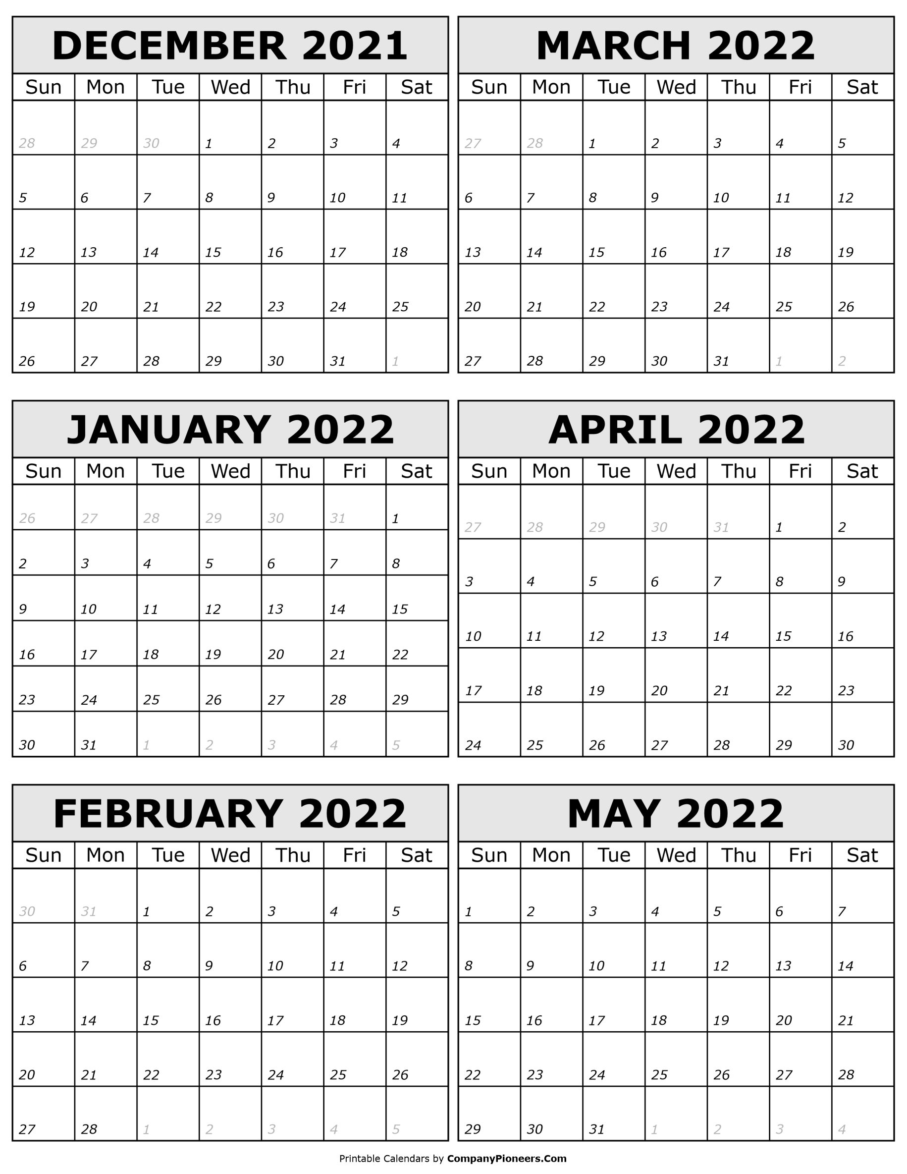 2021 December to 2022 May Calendar