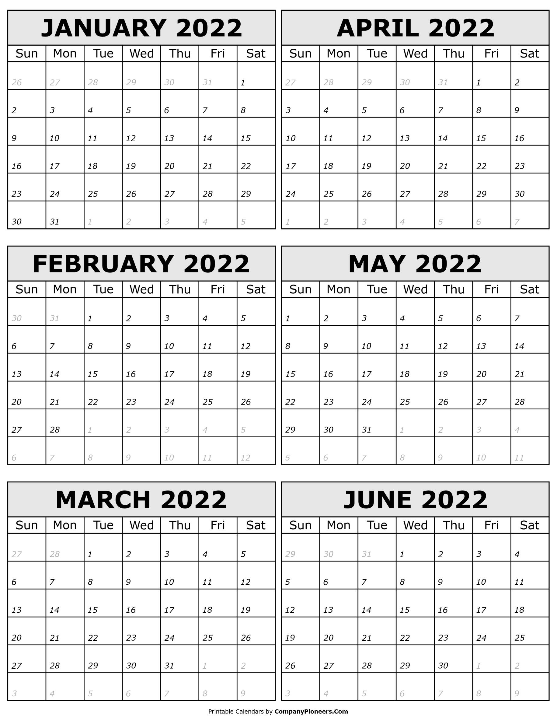 2022 January to 2022 June Calendar