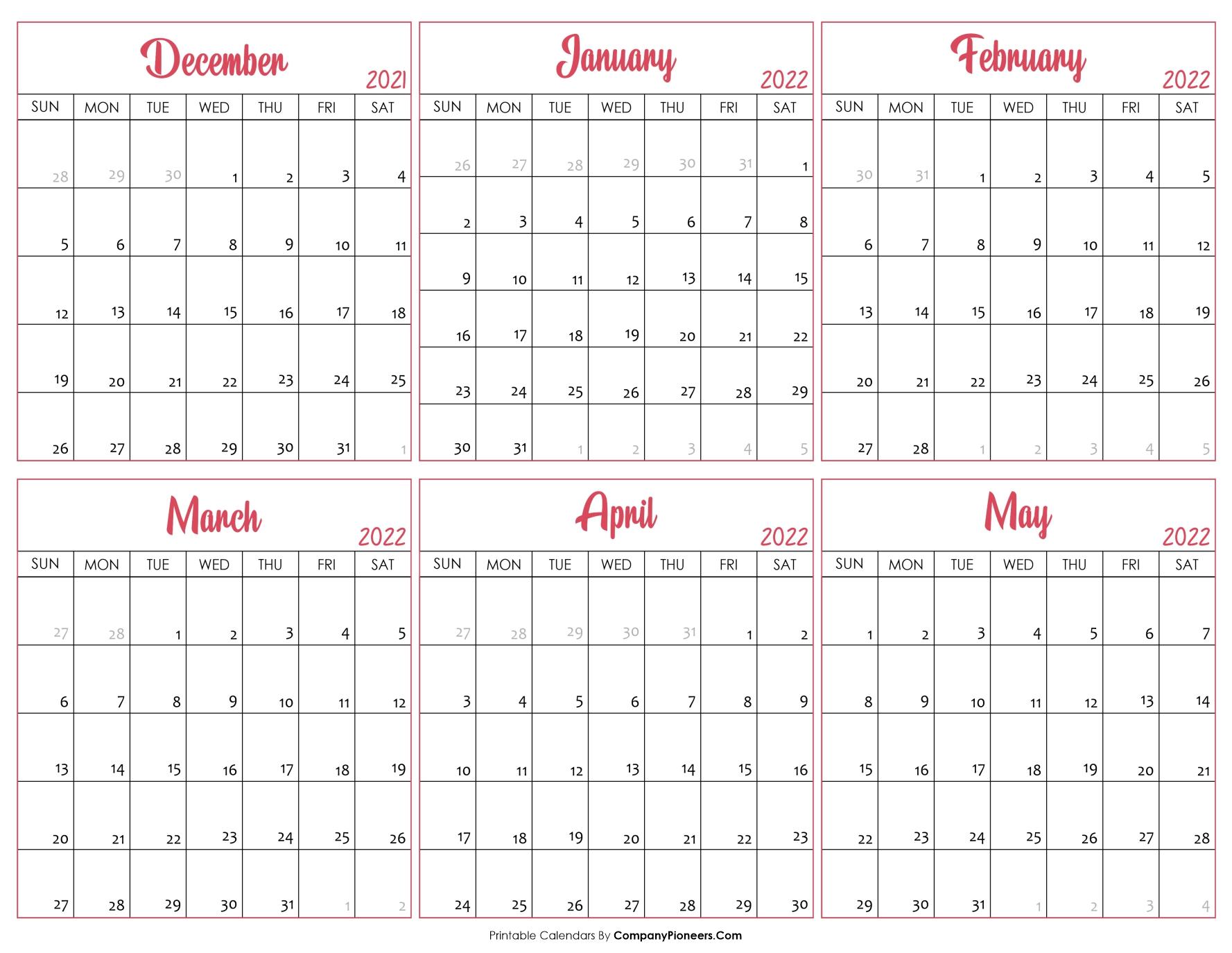 Calendar December 2021 to May 2022