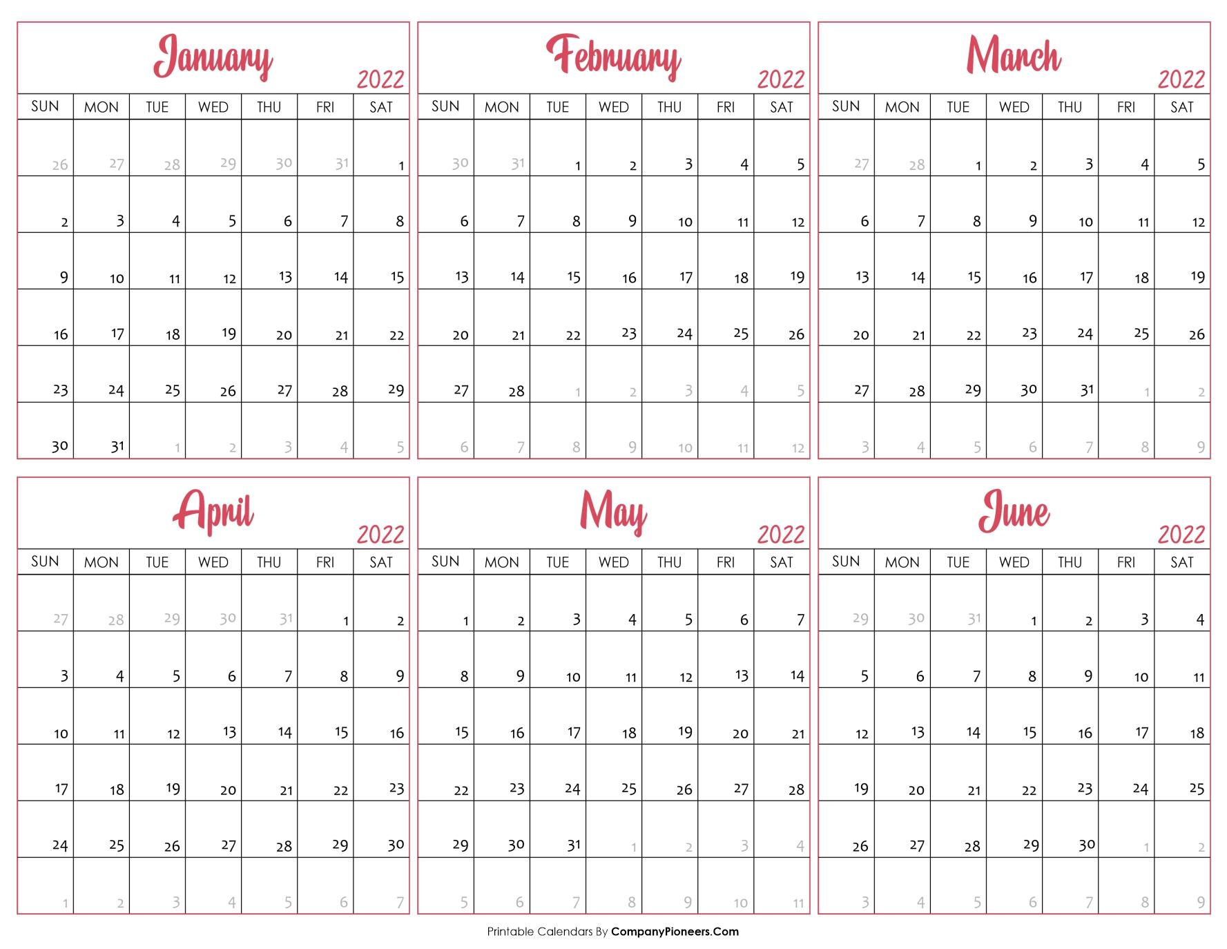 Calendar January 2022 to June 2022