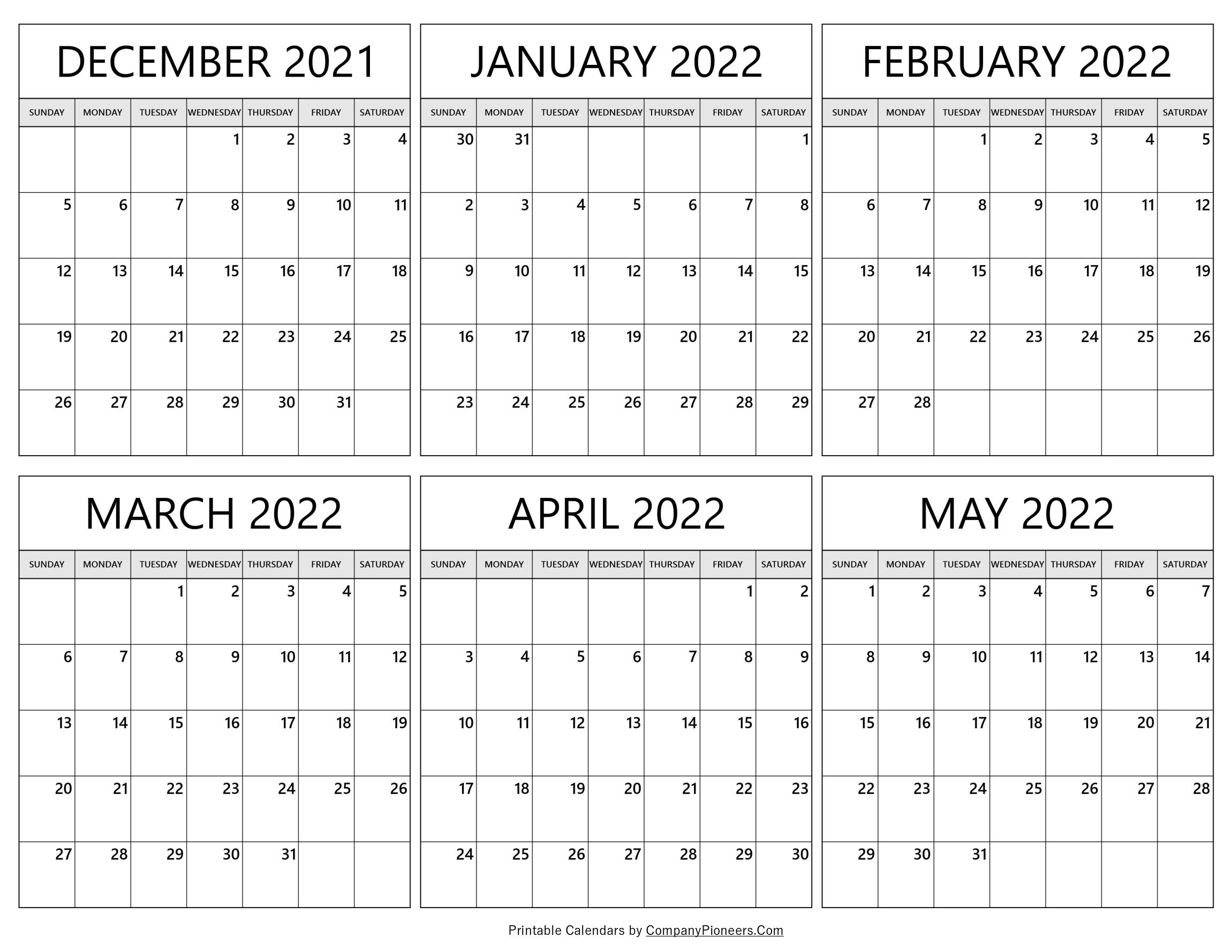 December 2021 to May 2022 Calendar
