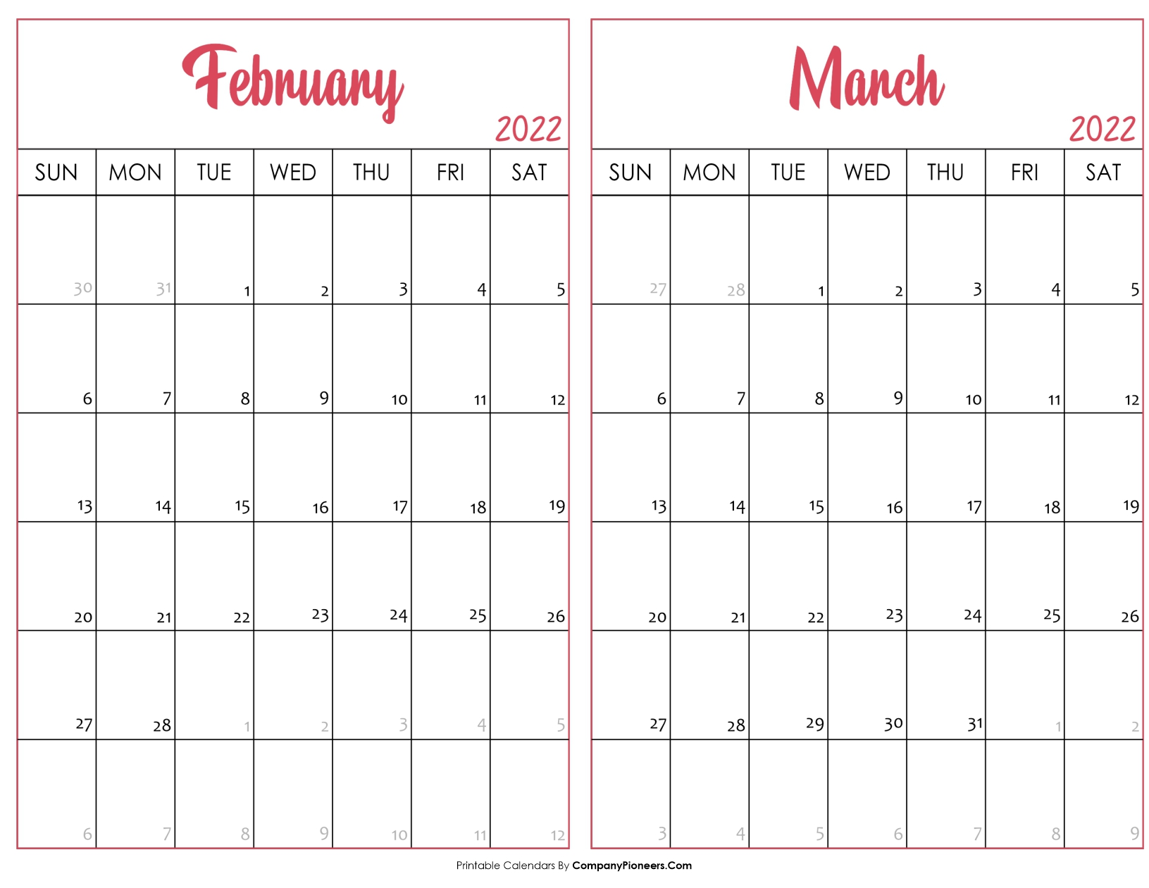 February and March Calendar 2022