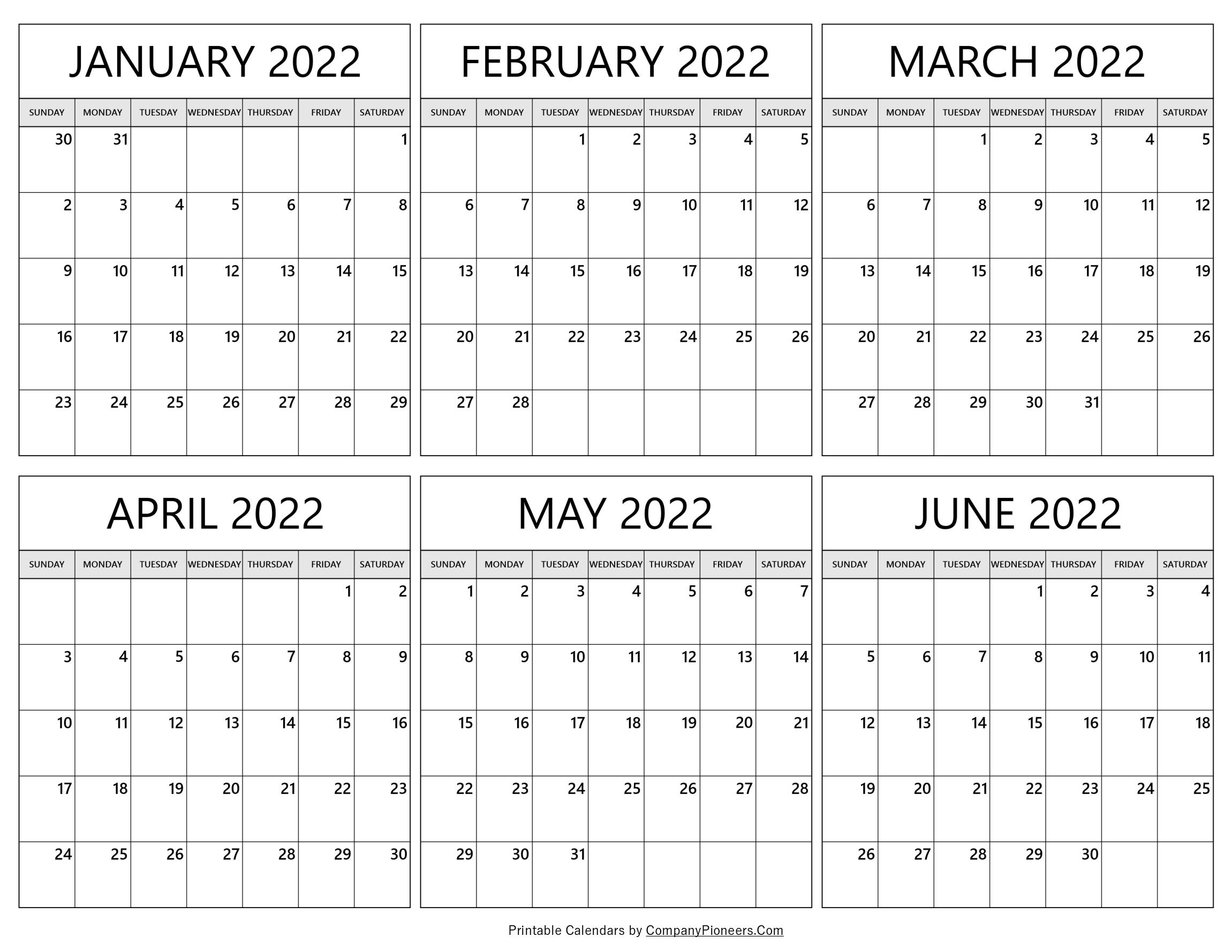 January 2022 to June 2022 Calendar