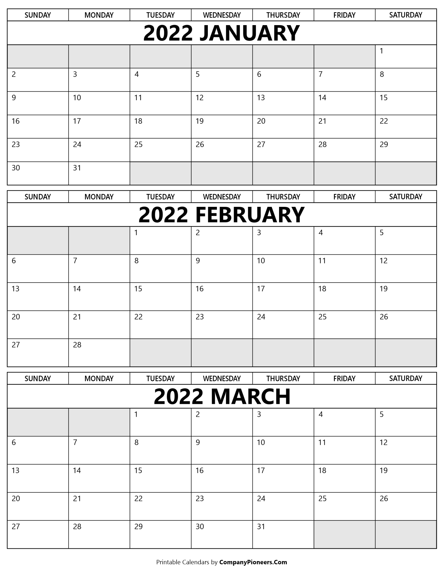January to March 2022 Calendar