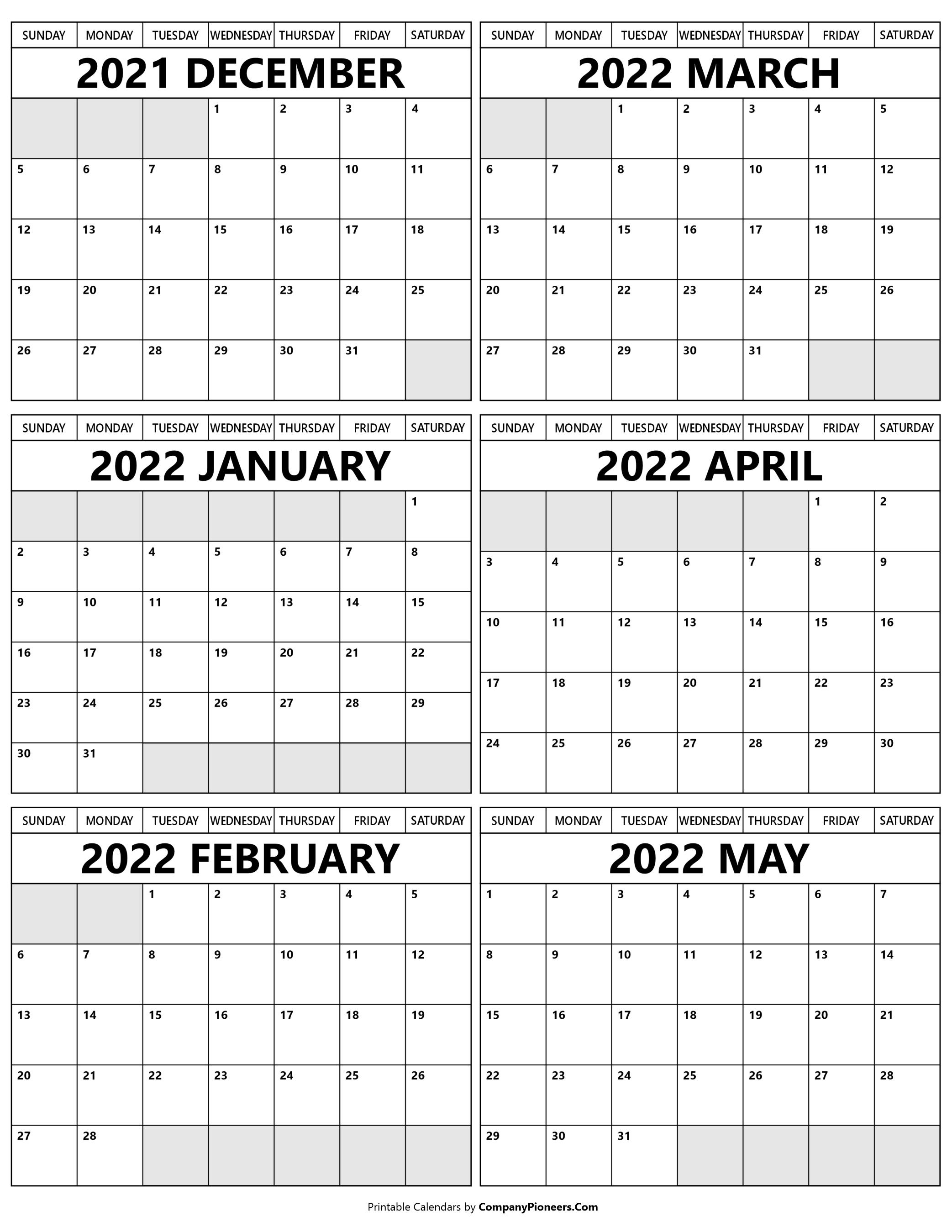 Printable December 2021 to May 2022 Calendar