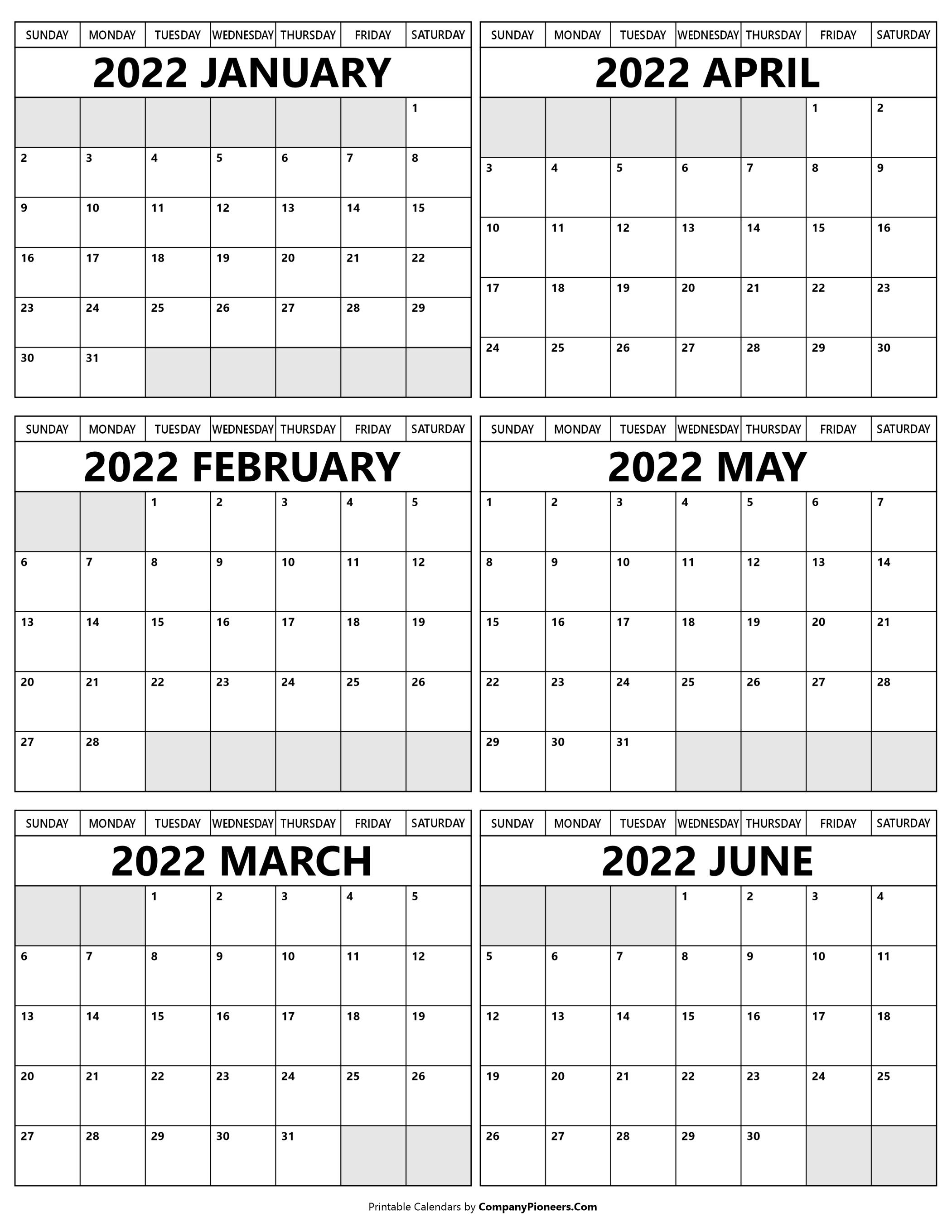 Printable January 2022 to June Calendar 2022
